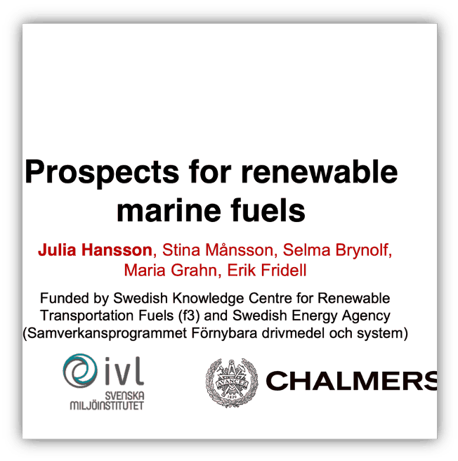 Prospects for renewable marine fuels