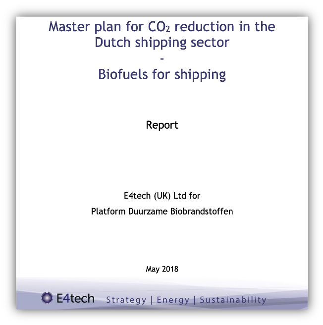 Masterplan for CO2 reduction in Dutch shipping sector Biofuels for shipping