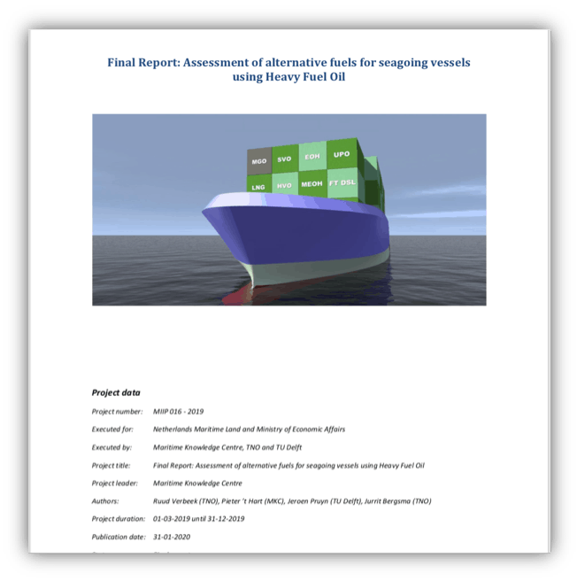 Assessment of alternative fuels for seagoing vessels using Heavy Fuel Oil