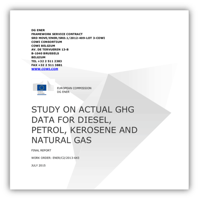 Study on actual GHG data for diesel, petrol, kerosene and natural gas