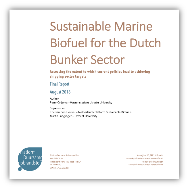 Sustainable Marine Biofuel for the Dutch Bunker Sector