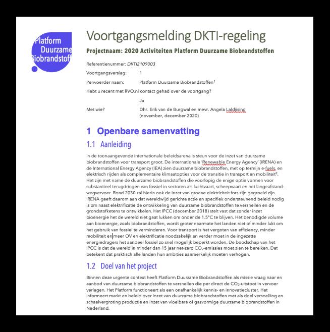Voortgangsrapport DKTI-Transport programma