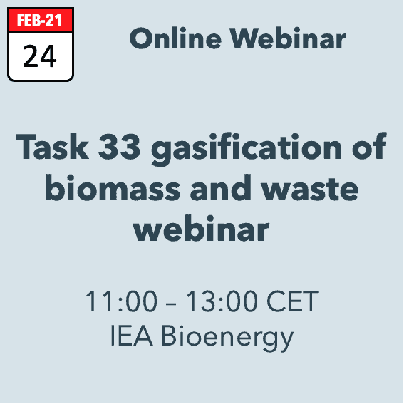 Task 33 'Gasification of biomass and waste' Webinar